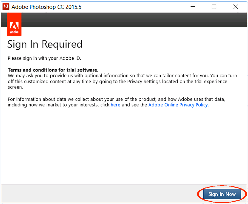 how to use adobe photoshop without signing in