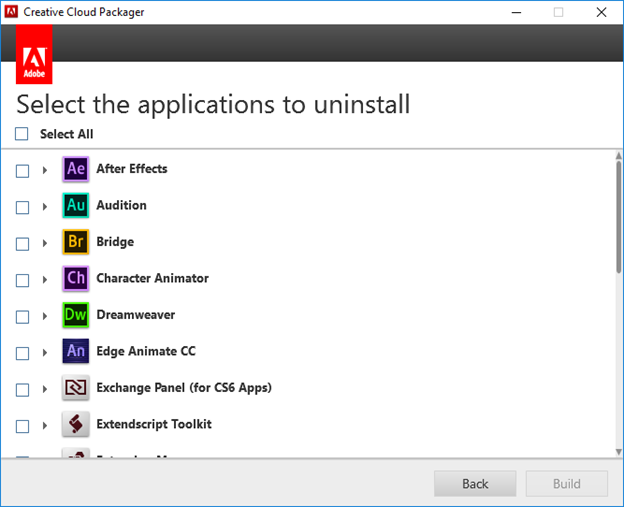 Select applications to uninstall