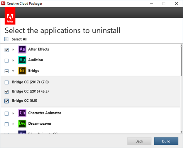 Select application versions to uninstall