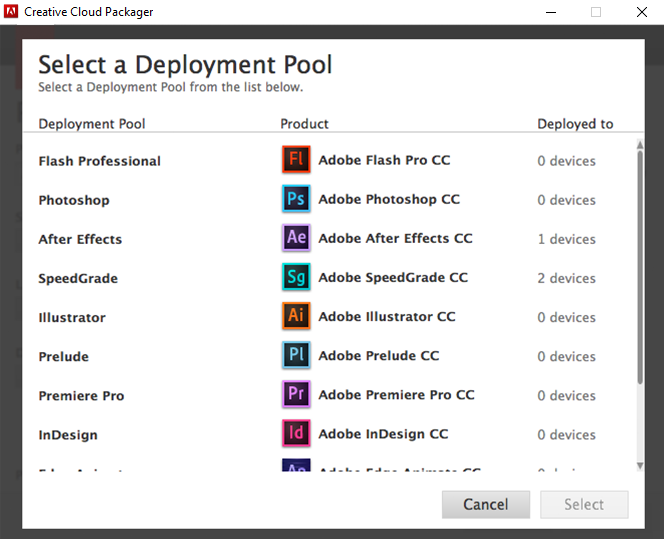 Select a deployment pool