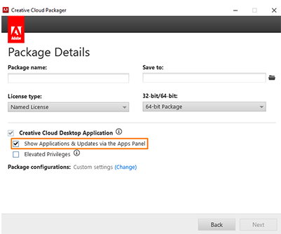 Customize using Packager