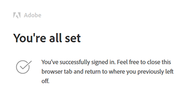Successful browser sign-in