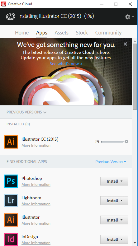 Apps and updates installed through Adobe Creative Cloud desktop app