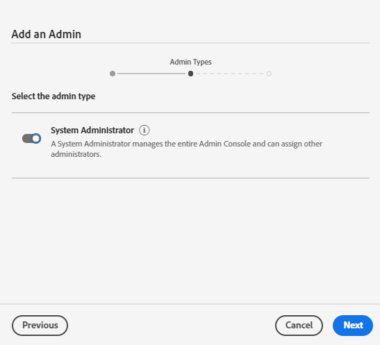 Admin Types visible as the System Admin of a team
