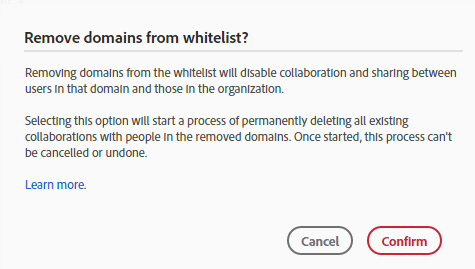 Remove a whitelisted domain