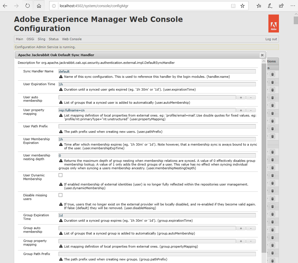 Sync handler in AEM console manager to configure AEM
