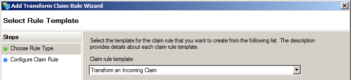 AD FS Transform incoming claim 1