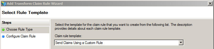 Select rule template