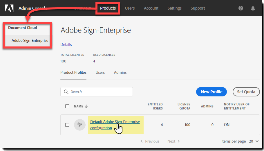 Navigate to the Adobe Sign product page