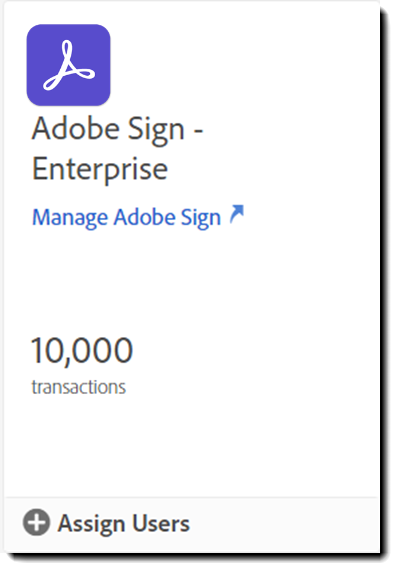 Adobe Sign offering card