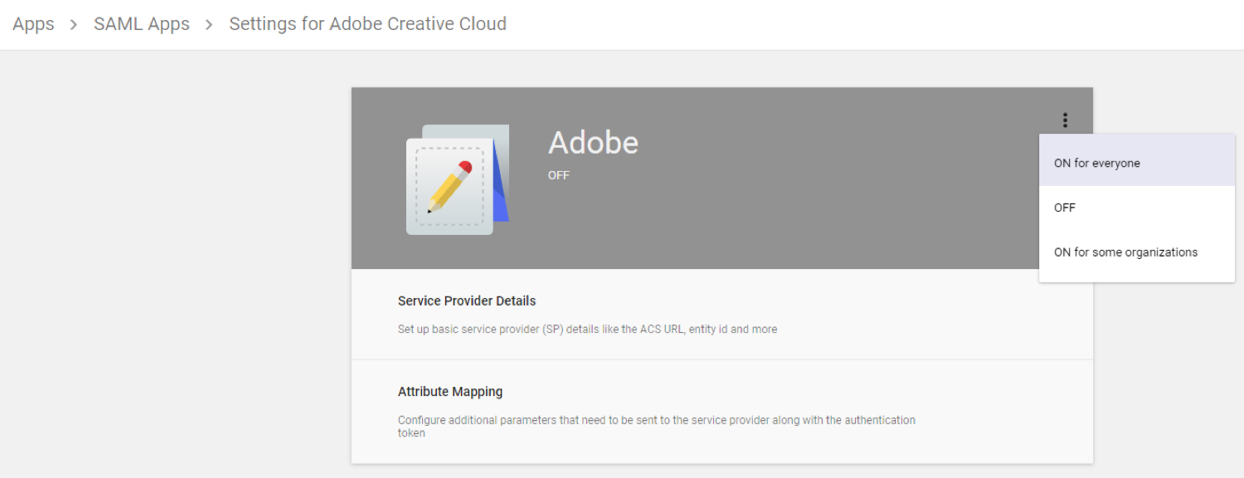 Settings for Adobe Creative Cloud