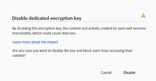 Disable Dedicated Encryption Key