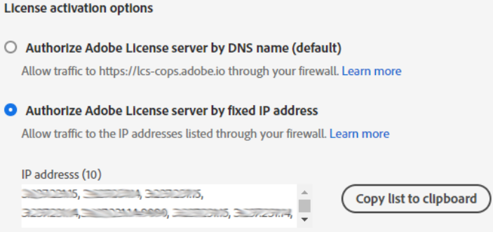 License activation options