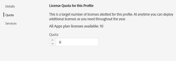 Manage quotas for a profile
