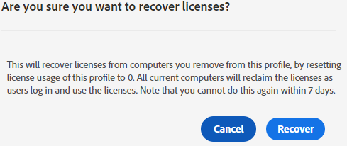 Confirm recover licenses