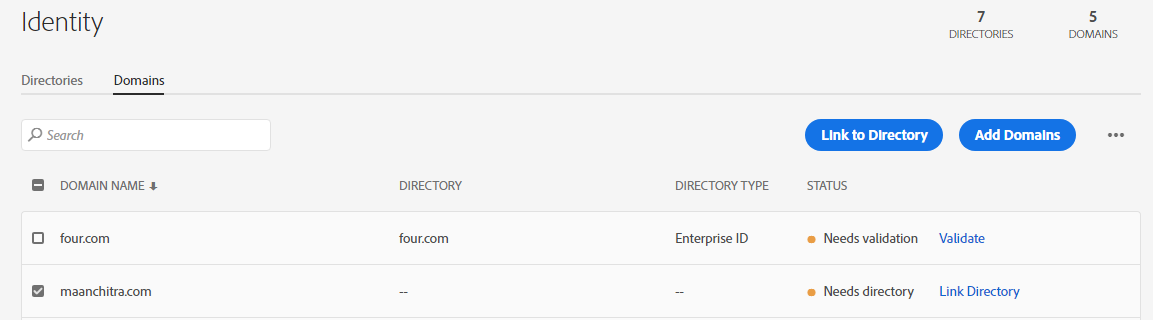 Link domains to directory
