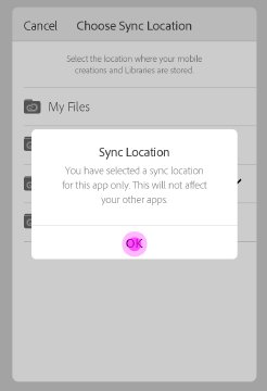 Click OK to change sync location