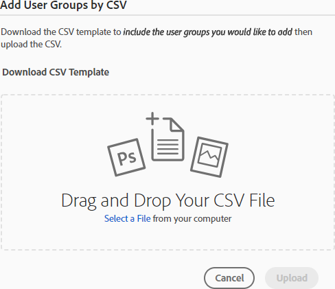 Add user groups by CSV