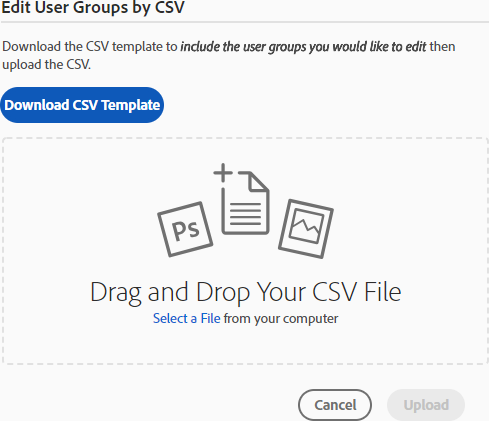 Edit user groups by CSV