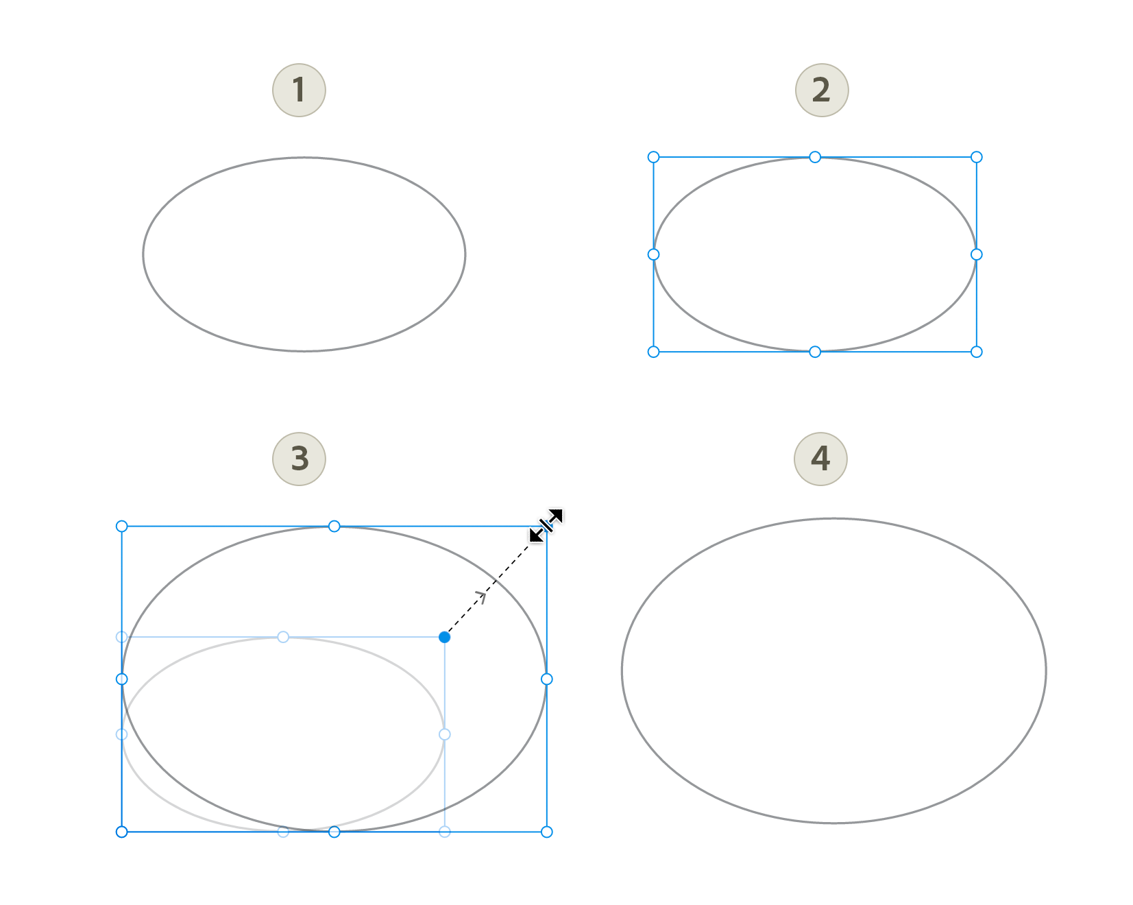 Drag and resize circle.