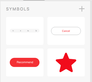 Symbols library. Click '+' to make a selected object a symbol and add to library.