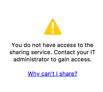 Warning message - you do not have access