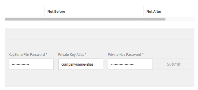 Enter Key Store Password field, Private Key Password field, and Enter Private Key Alias field