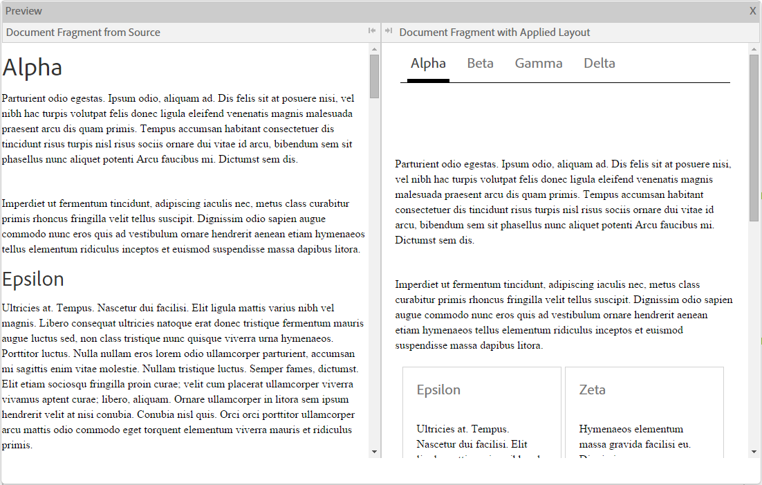 Inline preview of a document fragment. The tabs on the top layout is applied to the document fragment.