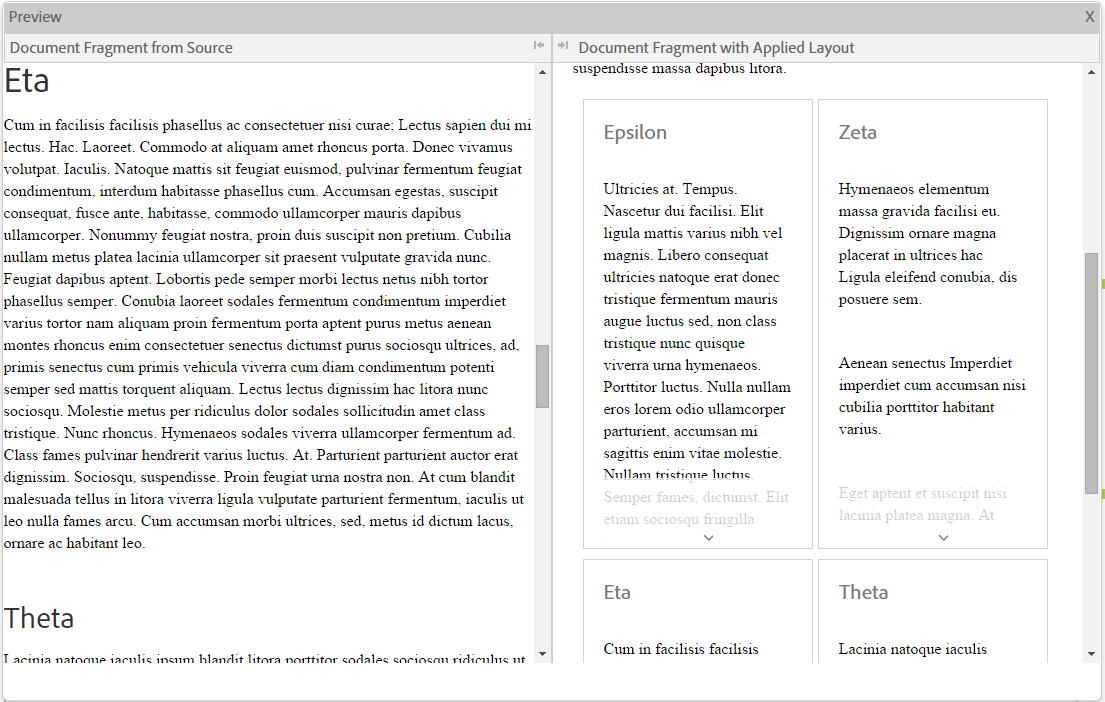 Inline preview of a document fragment. The cards layout is applied to the document fragment.