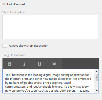 Adding rich media as in-context help for form fields