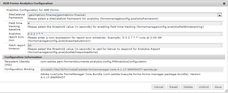 Service de configuration d'AEM Forms Analytics
