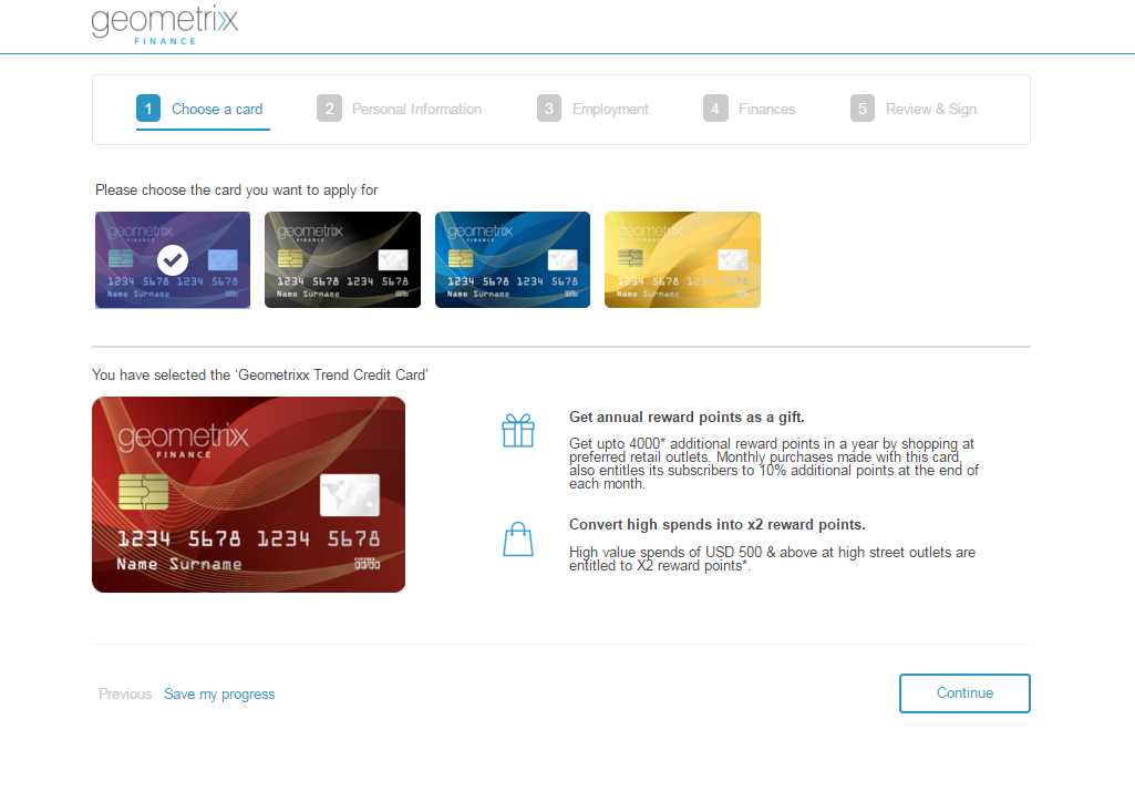 Credit card application on desktop