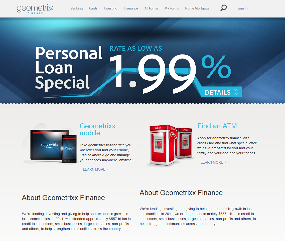 Geometrixx Finance home page