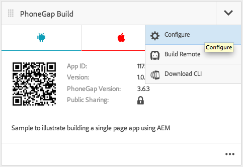 PhoneGap Build Tile with Configure Option Selected