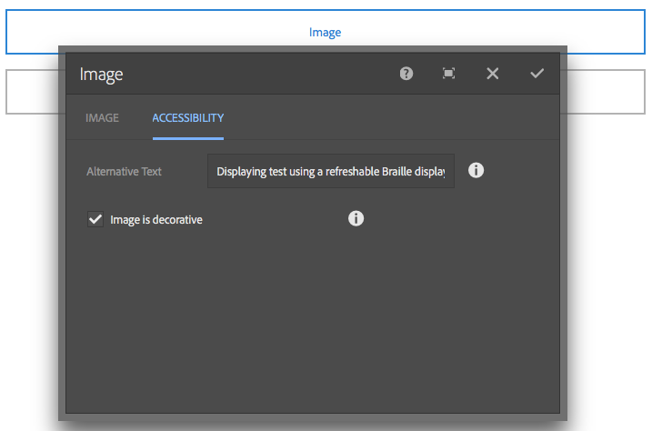 Edit dialog of the Image component in the touch-optimized UI; shows the Alt Text field.