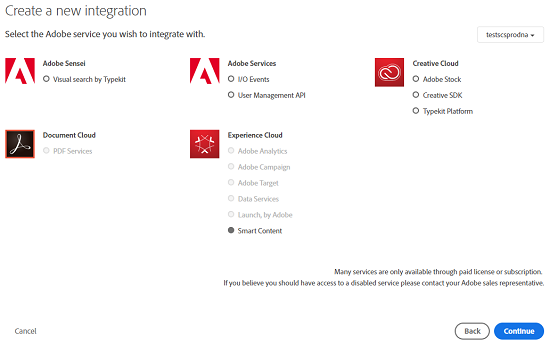When creating a new integration select Smart Content under Experience Cloud from the available options