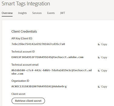 In the Overview tab, you can review the information provided for integration.