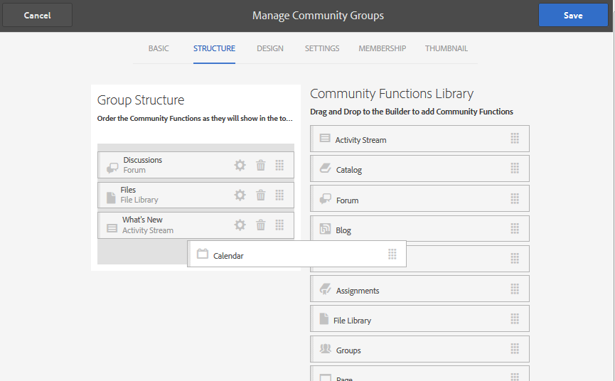 Example: Adding a Forum Function to a Sub-Community (Group) Structure