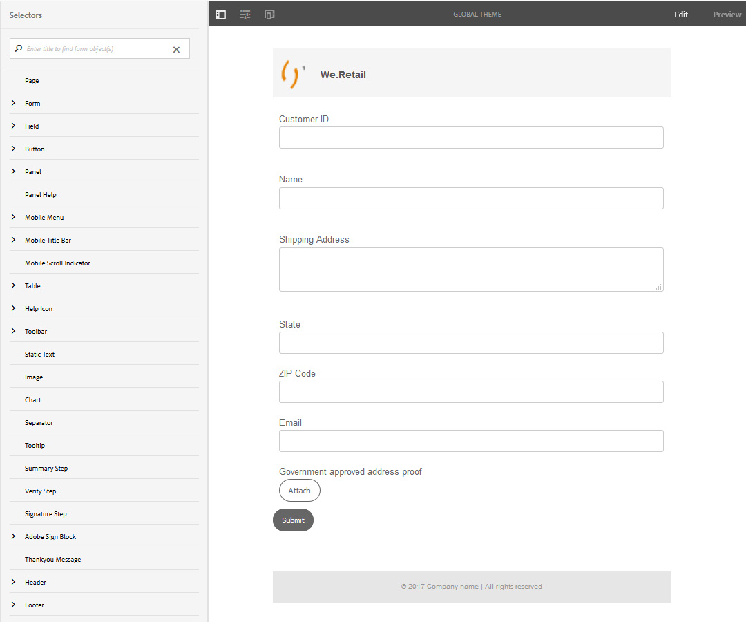 Theme editor with the shipping-address-add-update-form adaptive form