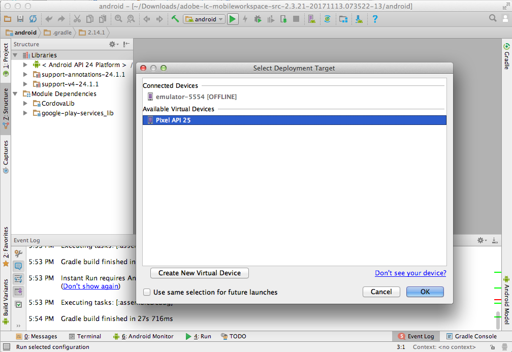 Set up the Android studio project and build the Android app