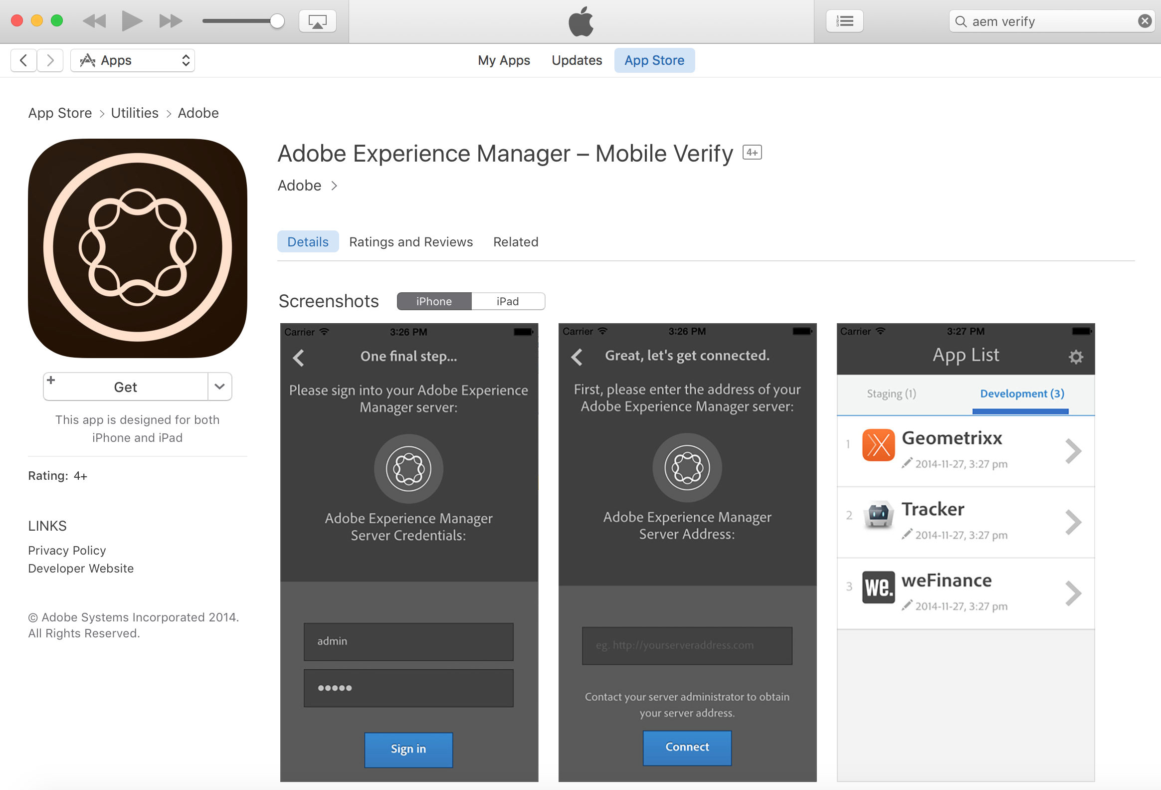 iTunes AEM Verify