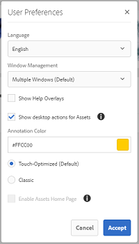 Check Show Desktop Actions For Assets to enable desktop actions