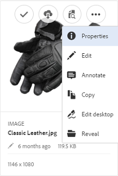 In Assets UI, open quick actions menu to see desktop actions