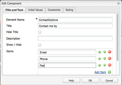 Adding items to the radio group. The group title is 'Contact me by' - defined in the Title field.