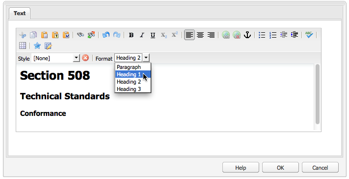 Headings H1 through to H3 shown in the drop down selector (classic UI).