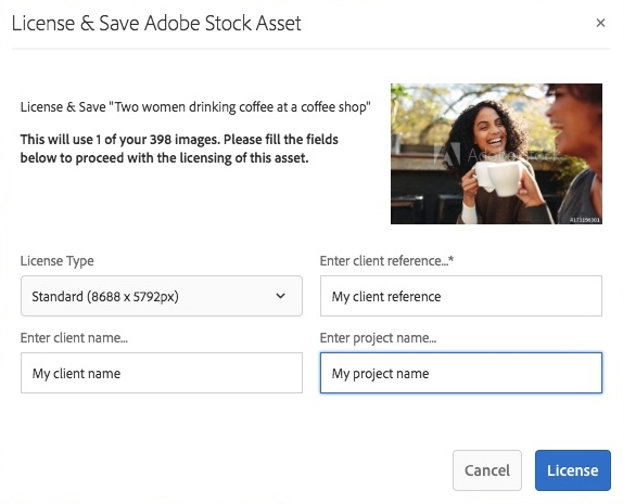 Dialog to license and save Adobe Stock assets in AEM Assets