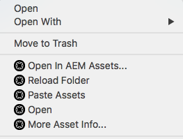 Context menu options to access and open assets using AEM Desktop app