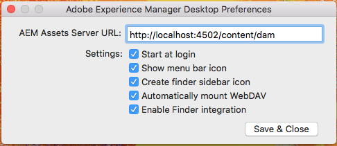 Provide AEM server URL on Mac