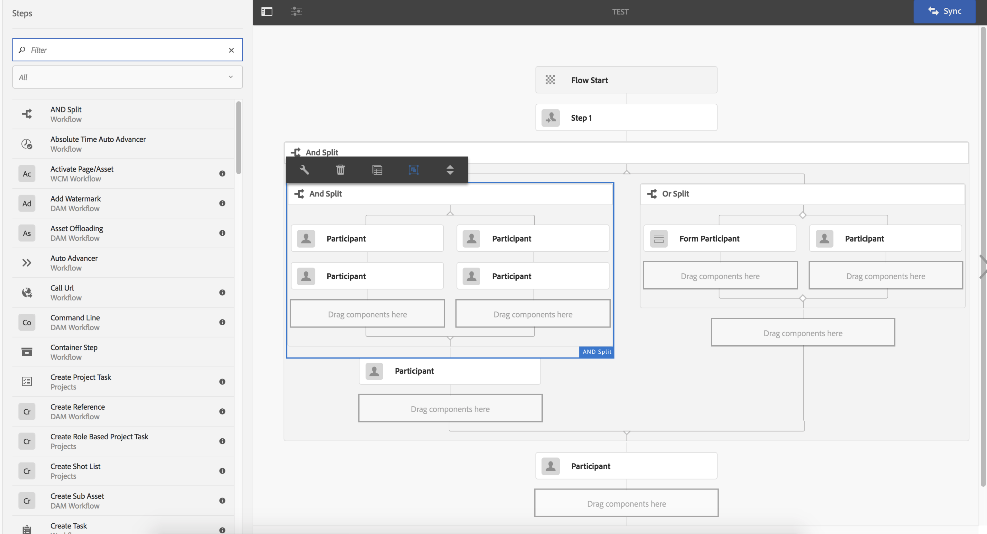 Touch UI Based Workflow Editor