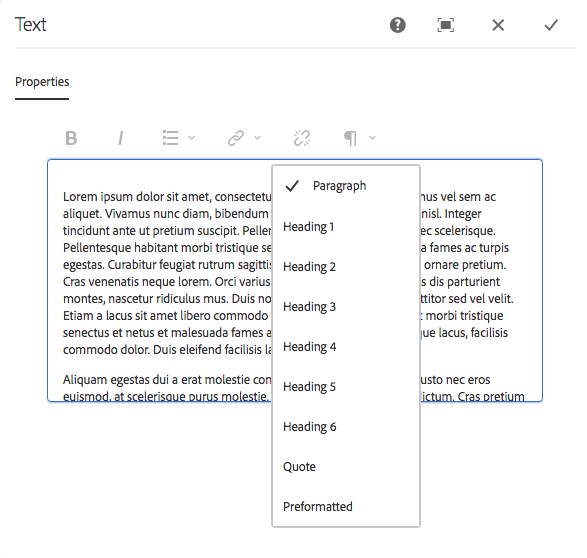 An example of the Paragraph element shown in source edit mode (classic UI).
